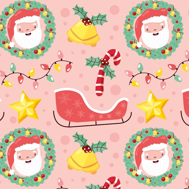 Weihnachtsmuster nahtlos mit santa und weihnachtselementen Premium Vektoren