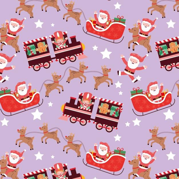 Weihnachtsmuster nahtlos mit schlitten und zug und weihnachtscharakter Premium Vektoren