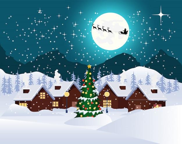 Weihnachtsnacht landschaft Premium Vektoren