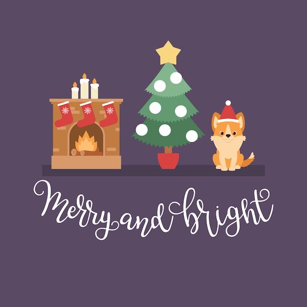 Weihnachtsnachtszene: weihnachtsbaum, kamin mit strümpfen und waliser-corgi-welpen Premium Vektoren