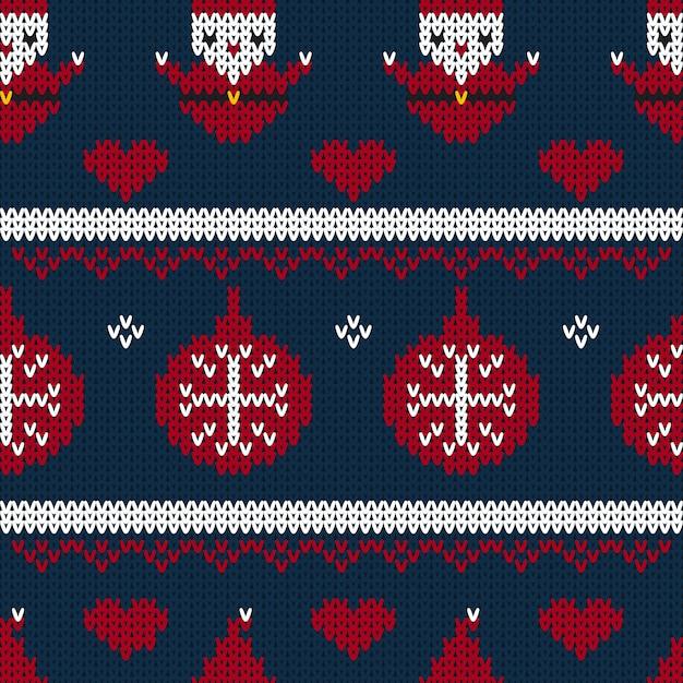 Weihnachtsnahtloser gestrickter musterhintergrund Premium Vektoren