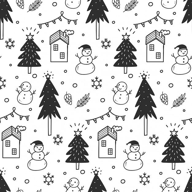 Weihnachtsnahtloser hintergrund in der gekritzelart Premium Vektoren