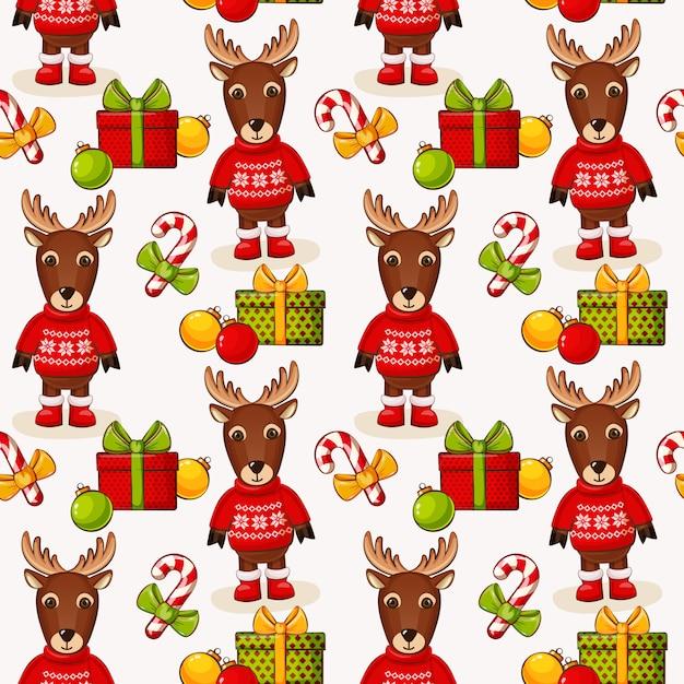 Weihnachtsnahtloser hintergrund mit rotwild. muster. Premium Vektoren