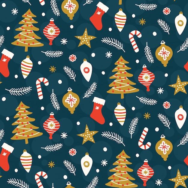 Weihnachtsnahtloses muster auf blauem hintergrund Premium Vektoren