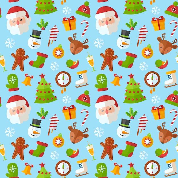 Weihnachtsnahtloses muster mit flacher sankt, rotwild, lebkuchenplätzchen Premium Vektoren