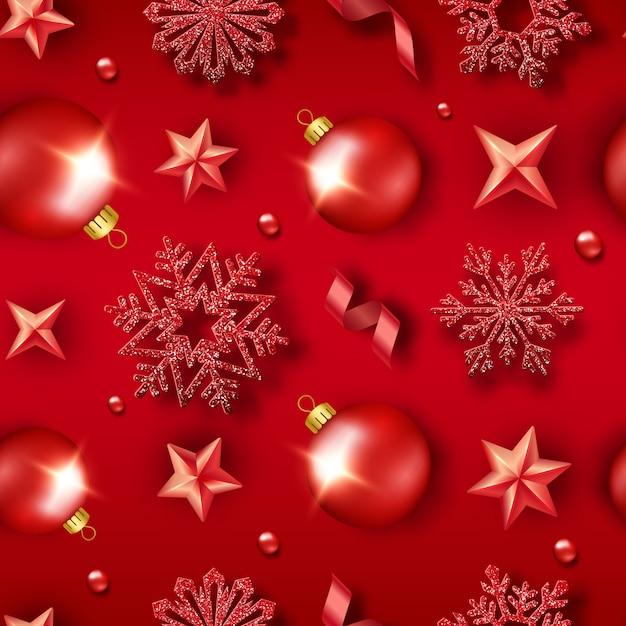 Weihnachtsnahtloses muster mit glänzenden schneeflocken, bällen, sternen, bändern und bunten konfettis. neujahrskarte illustration Premium Vektoren