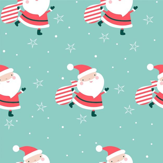 Weihnachtsnahtloses muster mit sankt und taschen. Premium Vektoren