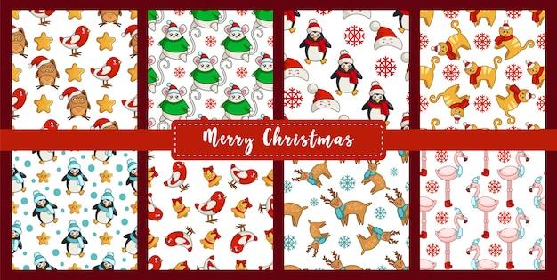 Weihnachtsnahtloses muster stellte mit kawaii tieren des neuen jahres, vögel - dompfaff, ren, flamingo, maus ein Premium Vektoren