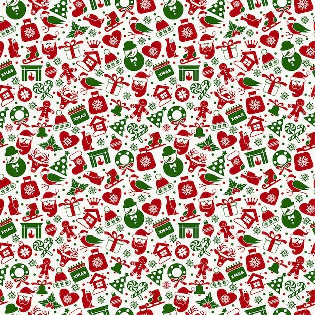 Weihnachtsnahtloses muster von flachen ney jahre ikonen. Premium Vektoren