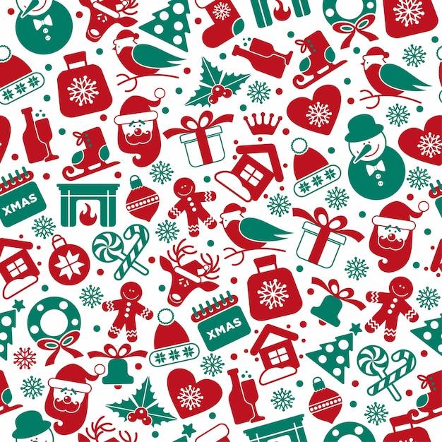 Weihnachtsnahtloses muster von ikonen. Kostenlosen Vektoren