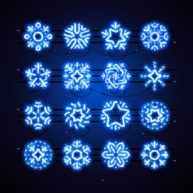 Weihnachtsneon-schneeflocke-blau-magie Premium Vektoren