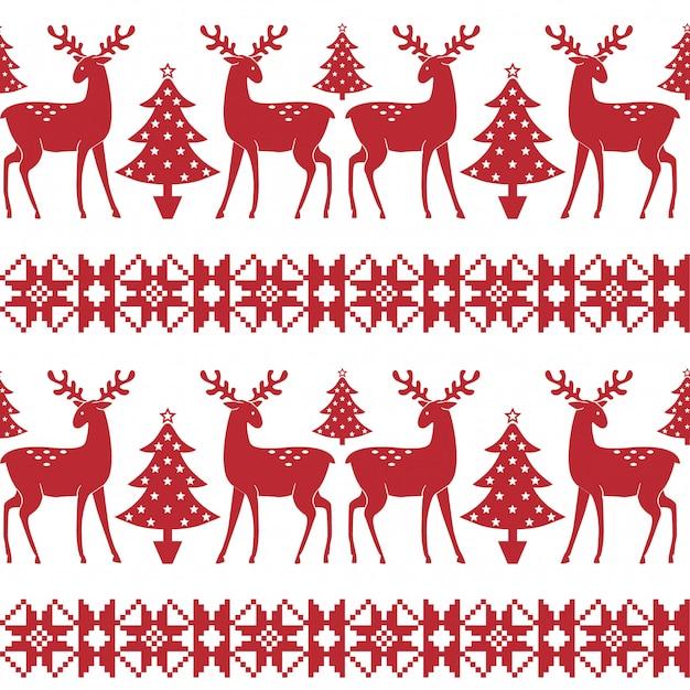 Weihnachtsnordisches nahtloses muster mit bäumen und rotwild. Premium Vektoren