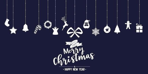 Weihnachtsphasentext und -stern mit sankt-bart und -verzierungen mit symbol entwerfen auf hintergrund Premium Vektoren