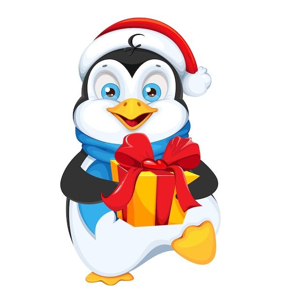 Weihnachtspinguin mit geschenkbox Premium Vektoren