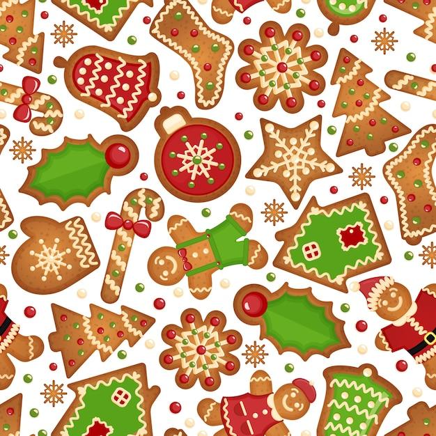Weihnachtsplätzchenhintergrund. nahtloses feierliches muster von weihnachtsplätzchen Kostenlosen Vektoren