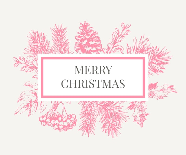Weihnachtsplakat - illustration. beschriftungsillustration des weihnachtsrahmens mit zweigen des weihnachtsbaumes. Premium Vektoren