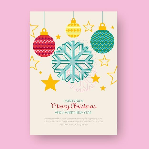 Weihnachtsplakat mit geometrischen formen von weihnachtsbällen Kostenlosen Vektoren