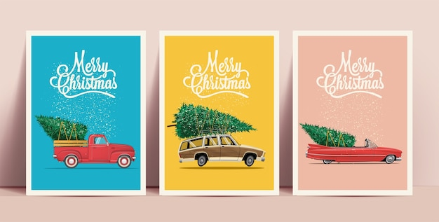 Weihnachtsplakate oder -karten, die mit karikatur-retroautos mit weihnachtsbaum an bord mit frohe-weihnachten-beschriftung auf farbigen hintergründen gesetzt werden Premium Vektoren