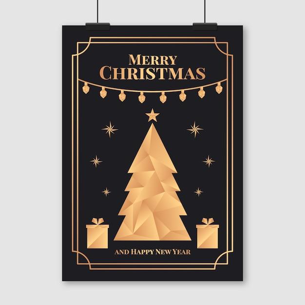 Weihnachtsplakatschablone in der polygonalen art Kostenlosen Vektoren