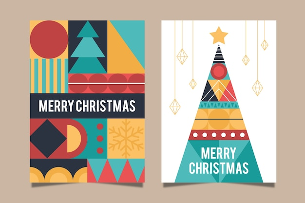 Weihnachtsplakatschablone mit bunten geometrischen formen Kostenlosen Vektoren