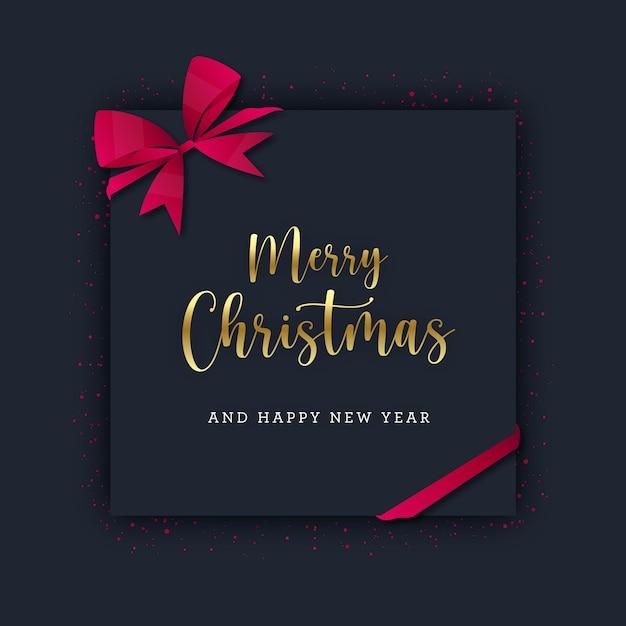 Weihnachtsplatzkarte mit rotem glitzer und schleife Premium Vektoren