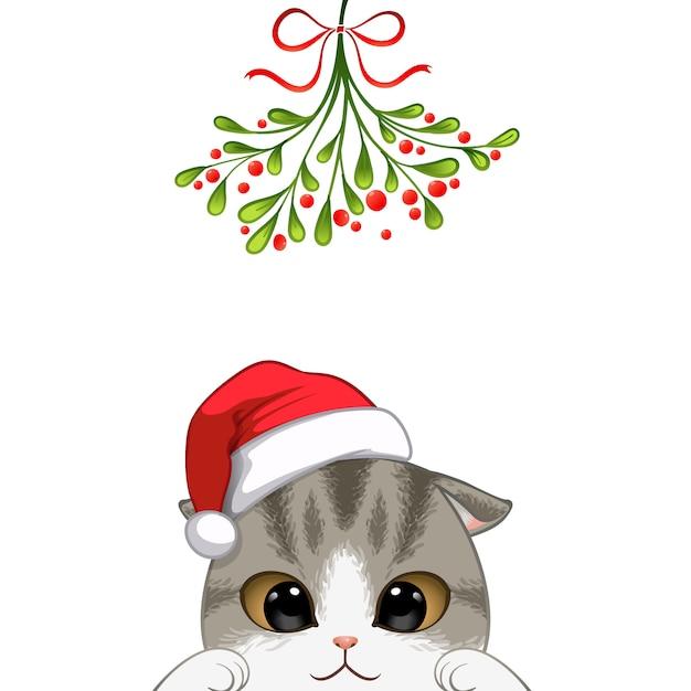 Weihnachtsporträt des netten katzencharakters Premium Vektoren