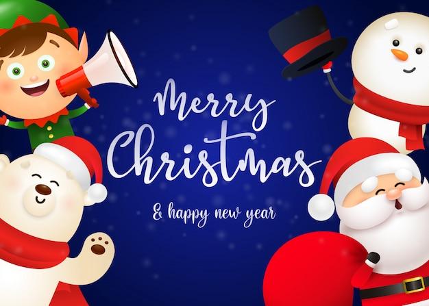 Weihnachtspostkartenentwurf mit niedlicher sankt Kostenlosen Vektoren