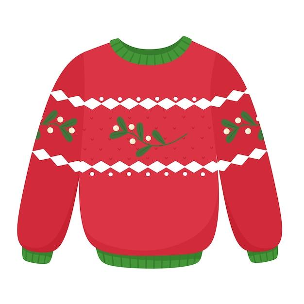 Weihnachtspullover mit mistel. kleidungsdekor, weihnachtsferien. im flachen stil. Premium Vektoren