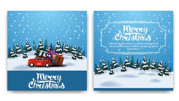 Weihnachtsquadratische doppelseitige postkarte mit karikaturwinterlandschaft Premium Vektoren