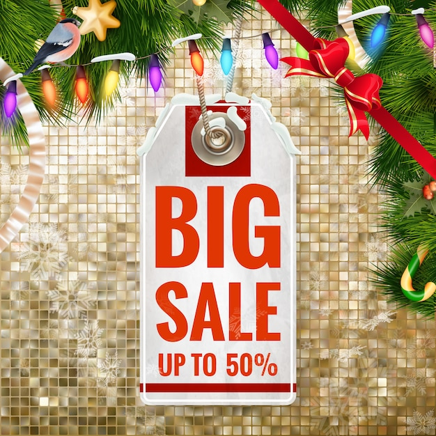 Weihnachtsrabatt, verkauf. Premium Vektoren