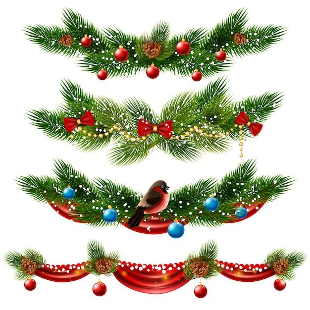 Weihnachtsränder set Kostenlosen Vektoren