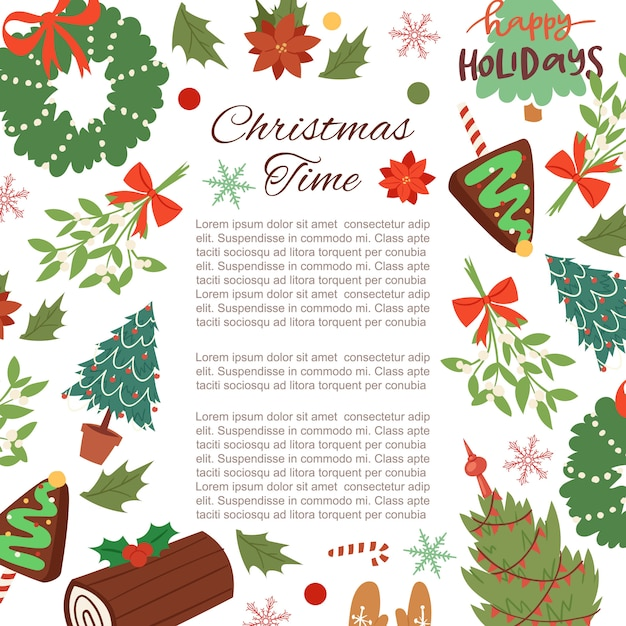 Weihnachtsrahmen-karikaturillustration. Premium Vektoren