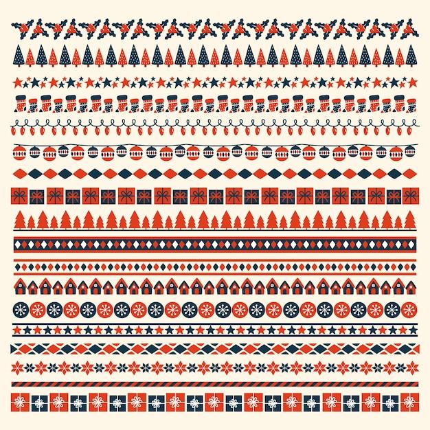 Weihnachtsrahmen und -grenzen des flachen designs Kostenlosen Vektoren