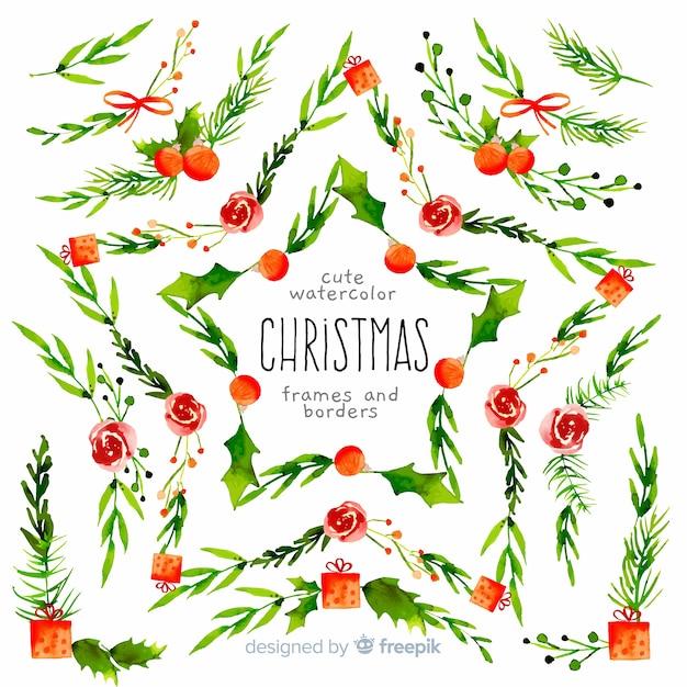 Weihnachtsrahmen und grenzsammlung Kostenlosen Vektoren