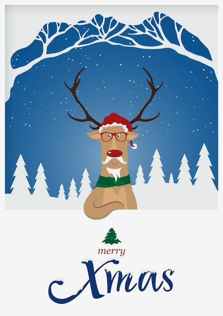Weihnachtsren für weihnachtsfeiertage Premium Vektoren