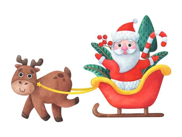 Weihnachtsrentier fährt weihnachtsmann in einem schlitten. Premium Vektoren