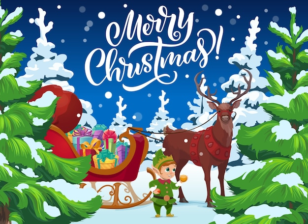 Weihnachtsrentier und elfe mit geschenken, weihnachtswinterferien Premium Vektoren