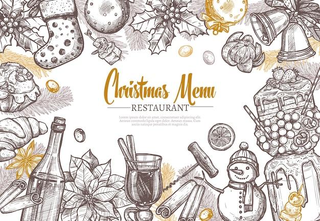 Weihnachtsrestaurant festliche menüvorlage. Premium Vektoren