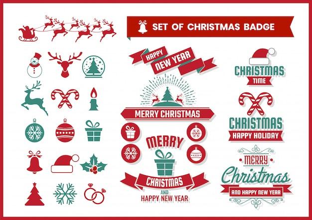 Weihnachtsretro- ausweis- und -elementsatz Premium Vektoren