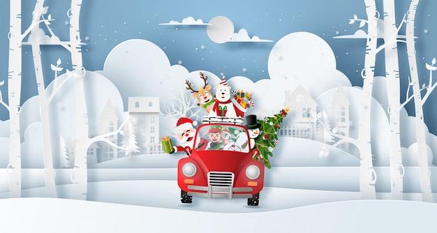 Weihnachtsrotes auto mit santa claus und freunden im dorf Premium Vektoren