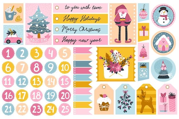 Weihnachtsschablone und etiketten für geschenke mit niedlichen zeichen und festlichen elementen in verschiedenen formen Premium Vektoren