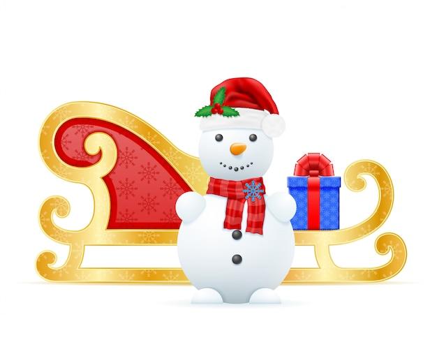 Weihnachtsschlitten weihnachtsmann-vektorillustration Premium Vektoren