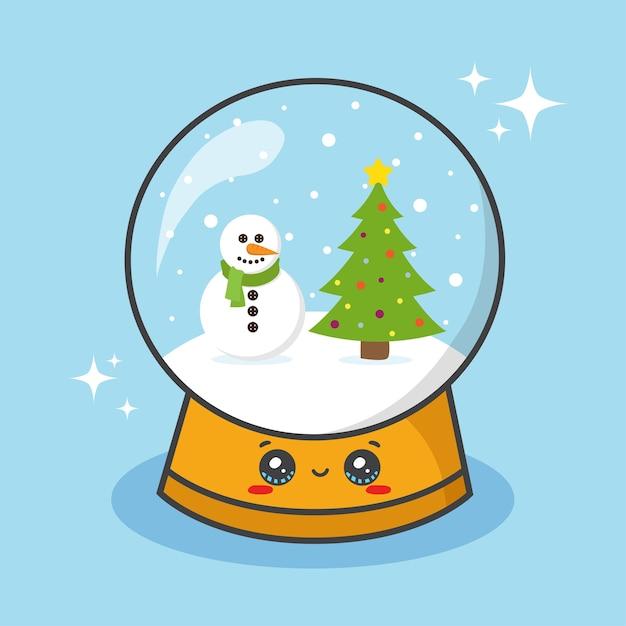 Weihnachtsschneekugelball mit schneemann und baum Premium Vektoren