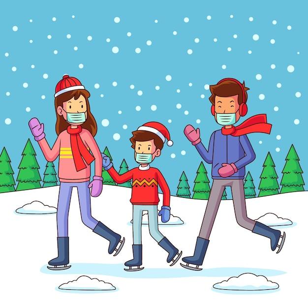 Weihnachtsschneeszene mit der familie, die masken trägt Kostenlosen Vektoren