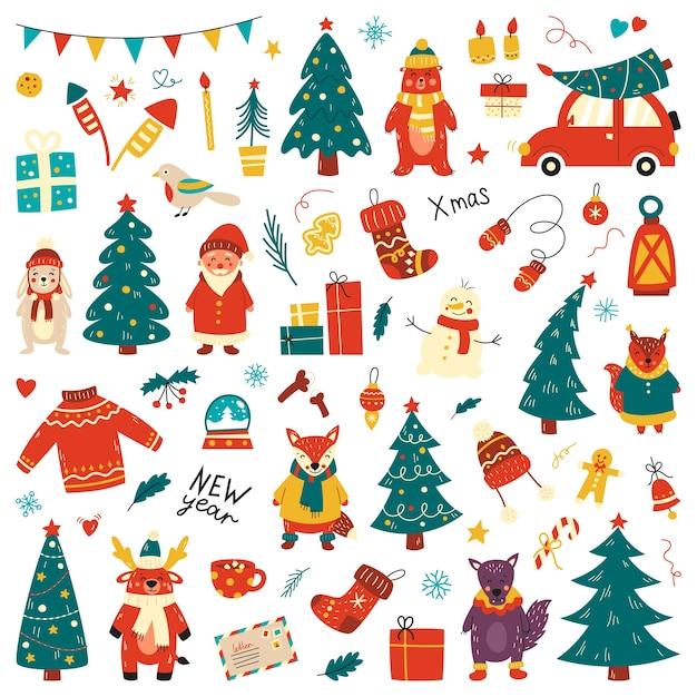 Weihnachtsset, handgezeichneter stil - kalligraphie, tiere und andere elemente. . Premium Vektoren