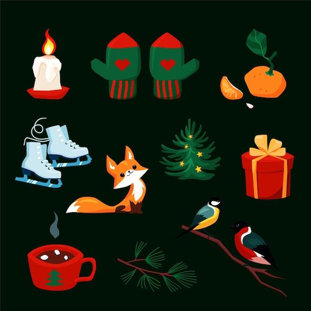 Weihnachtsset mit comic-neujahrsfiguren. bunte sammlung von weihnachtselementen für grußkartenentwurf. waldtiere, fäustlinge, winterferienobjekte im retro-stil. illustration Premium Vektoren