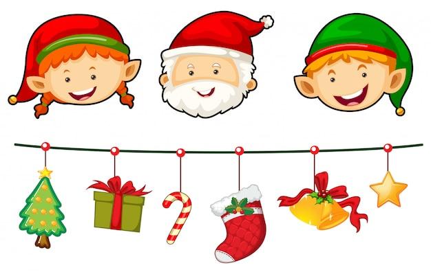 Weihnachtsset mit santa und elf Kostenlosen Vektoren