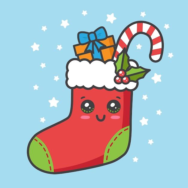 Weihnachtssocke mit geschenk und canday cane Premium Vektoren