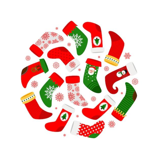 Weihnachtssocken und runde fahne der roten schneeflocken Premium Vektoren