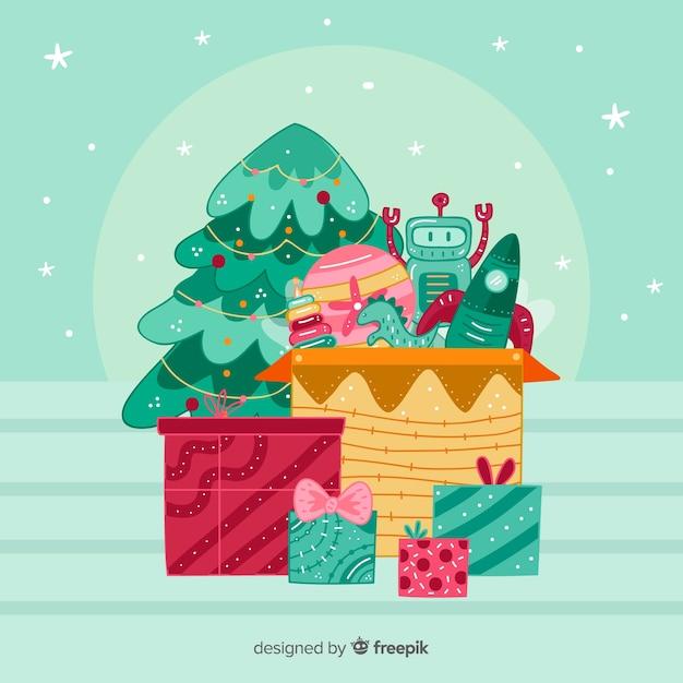 Weihnachtsspielzeugkastenhintergrund Kostenlosen Vektoren